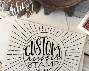 CUSTOM DESIGN Rubber Stamp, Logo Stamp For Your Business, Modern Calligraphy Wood Stamp, Hand Lettered Stamp, Personalized