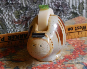 Takahashi Made in Japan, San Francisco Pottery Cat Tape Dispenser, tag on...beautiful condition