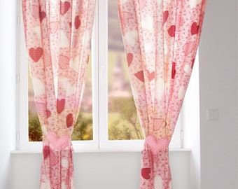 Custom kids pink curtains with its tiebacks
