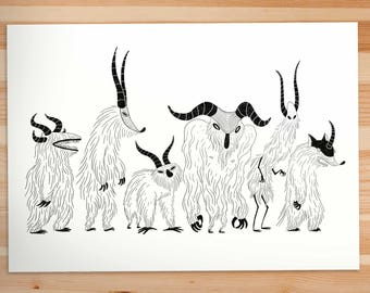 Illustration Print A4 Furry Monsters