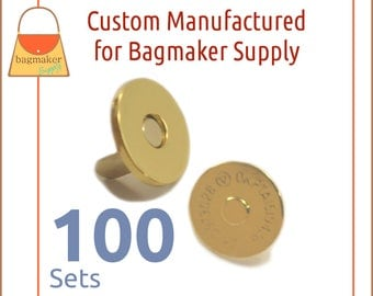 "18 mm Extra Thin Magnetic Snaps, Gold Finish, 100 Set Pack, Purse Handbag Bag Making Hardware Supplies, 3/4"", 3/4 Inch, BSN-AA037"