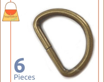 "1 Inch D Ring, Antique Brass / Bronze Finish, 6 Pieces, Handbag Hardware Purse Supplies, 1"" D-Ring, Wire Formed, Not Welded, RNG-AA222"