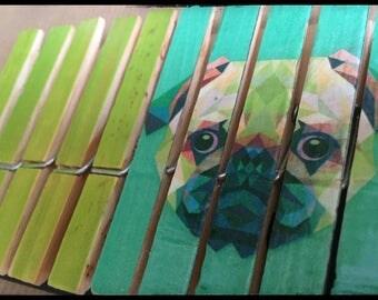 Set of 10 clothespins fantasy, standard size (Bulldog REF.)