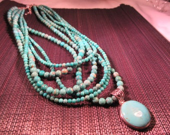Tribal Barse Sterling Silver Turquoise Necklace
