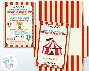 Vintage Circus Party Printable Invitation, 5x7in. Instant Download