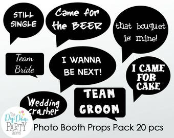 Wedding Photo Booth Props - Printable Funny Speech Bubbles. Buy 2 Get 1 FREE, Instant Download