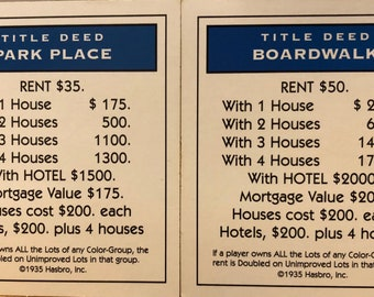 Boardwalk and Park Place Monopoly Game Deeds