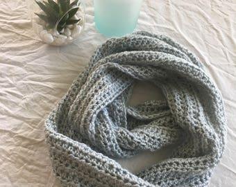 Seaglass blue infinity scarf