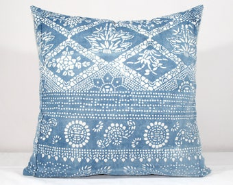"SALE!  20""x20"" Vintage Indigo Batik Pillows, Old Chinese HMONG Batik Fabric Pillow Case, Ethnic Textile Cushion Cover"