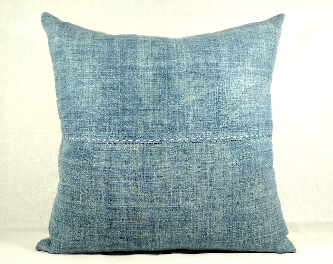 "20""x20"" Vintage Hand Dyed Blue Hemp Pillow Cover / Exotic Hmong Indigo Textile Boho Pillow Cover / Ethnic Costume Hemp Textile Pillow"