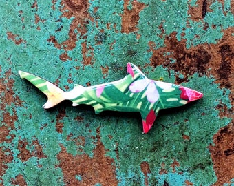Shark Necklace / Shark Brooch - Bull Shark Necklace or Brooch Handmade by Honoloulou's - Tropical Garden