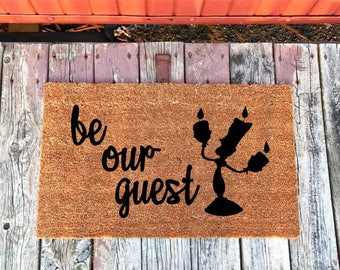 2 Sizes - Be Our Guest Beauty and the Beast Lumiere Disney Coir Door Mat - Doormat - 18 x 30 and 24 x 31.5 - Welcome Mat - Housewarming Gift
