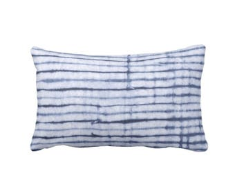 "Shibori Stripe Lumbar Throw Pillow, Indigo & Navy Blue Print 13 x 21"" OUTDOOR or INDOOR Printed Hand-Dyed Pattern Fabric Pillows"