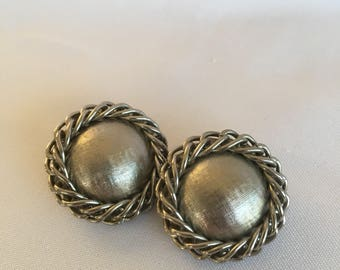 Vintage Silver Toned Clip On Earrings with  Rope Detail