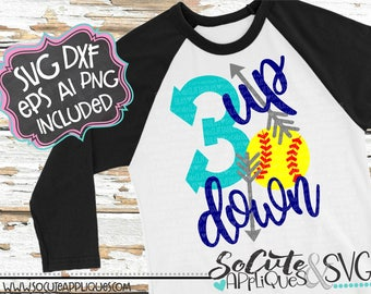 3 up 3 down Baseball SVG, Softball SVG, Baseball mom svg, softball mom svg, socuteappliques, baseball sister svg, softball sister svg
