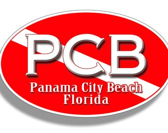 Panama City Beach Diver Down PCB Sticker Custom Printed Oval Decal Cup Cooler Car Truck Laptop Graphic Florida FL