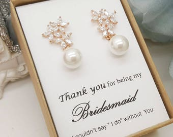 AAA CZ Crystal Flower design Pearl Drop Earring For Wedding Party Jewelry, Bridesmaid gift Jewelry