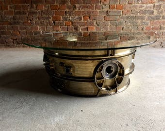 Mid Century Industrial Coffee Table Engine Turbine Aeroplane Round Loft Style