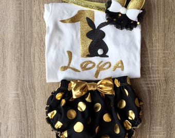 Bunny birthday outfit, baby girl outfit, 3 pieces bodysuit, pants and headband, birthday gift