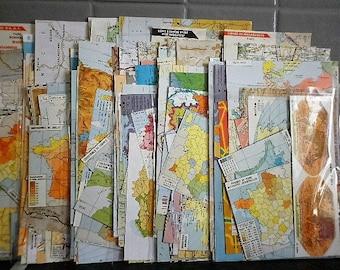 carte du monde - pack assortiment de 40 + bouts de papier different  -  collage - scrapbbooking ,  modifié art ...