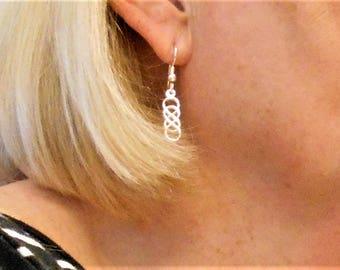 Silver Earrings, Sterling Silver earrings, Knot Earrings, Celtic Knot Earrings, Sterling Silver Dangle Earring, Sterling Silver Drop Earring