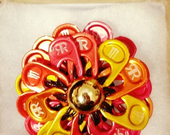 Three-Tone red, orange and yellow flower hair pin | pull tab | handmade | upcycle | READY TO SHIP