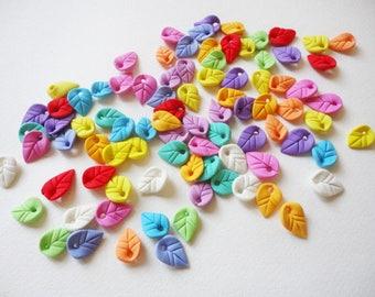 6 LEAVES BEADS, clay leaves, handmade beads, jewelry leaves, leaves charms, clay leaves beads, clay leaves charms, flower leaves beads