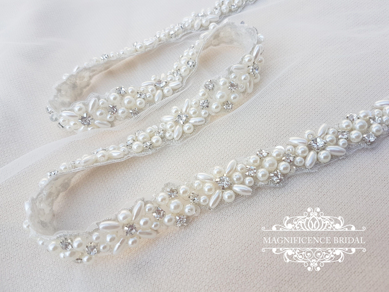 Bridal Sash Thin Bridal Belt Thin Bridal Sash Thin Pearl