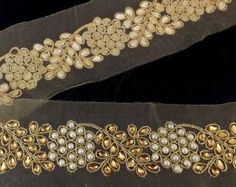 Fancy Diamante and Pearls beaded  Gold Bridal Lace Trim Ribbon Sewing Craft Saree Border 5.5 cm wide trim  by 1 Yard