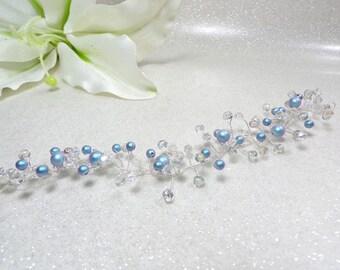 Vine wedding hair fascinator Swarovski Blue Crystal beads