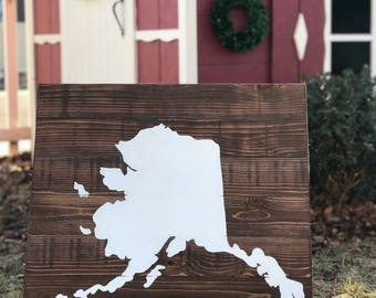 24x24 Wood State Wall Art -Alaska, AK -Slats