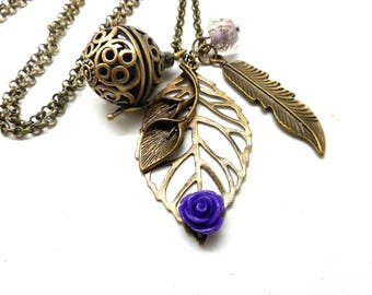 A scent! Necklace has perfume leaf, violet flower Pearl spun