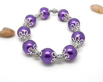 Purple glass beads and silver beads bracelet