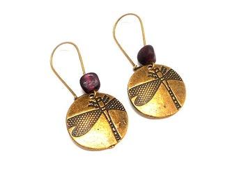 Stud Earrings, dragonfly, beads spun purple
