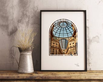 Printable Photography, Milan Italy PRINTABLE photo, Sun Filled Galleria Milan Italy printable photo, Italy architecture printable photo