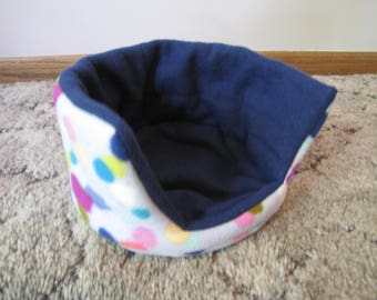 Reversible Fleece Cuddle Cup, Guinea Pig Bed, Ferret Bed, Hedgehog Bed, Rat Bed | Colorful Dot with Navy