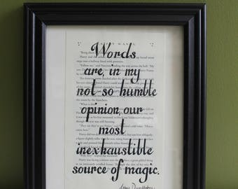 Harry Potter Quotation Print on Book Page, Harry Potter Quote Print, Upcycled Book Art, Graduation Gift / Holiday Gift / Teacher Gift