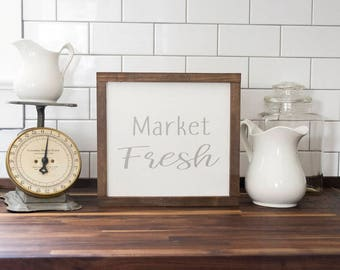 Farmhouse Housewarming Gift- Market Fresh Sign- Farmhouse Kitchen Decor- Rustic Kitchen Decor Farmers Market Sign Farmhouse Sign Fixer Upper