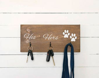 Key Hook, Dog Leash Holder, Dog Lovers, His and Hers, Entryway Organizer, Farmhouse Decor, Rustic Home Decor, Housewarming Gift for Couple