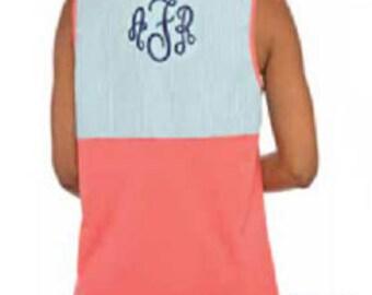 Seersucker tank etsy for Dress shirt monogram placement