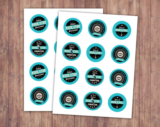 Rockstar Cupcake Toppers, Cupcake Toppers, Custom Cupcake Toppers, rock star Baby Shower, Party Favor, Birthday Party,