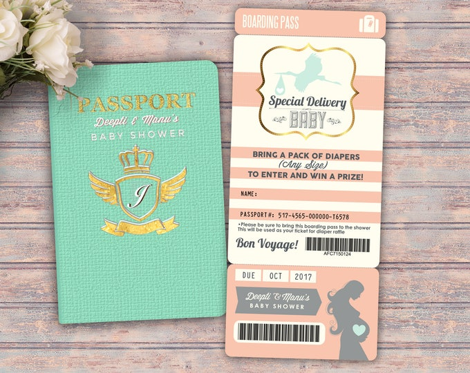 PASSPORT and TICKET baby shower invitation! Coed baby shower invitation- travel baby shower invitation- couples baby shower, gender reveal