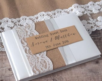Rustic Burlap, Hessian and Lace Wedding Guest Book - Handmade & Personalised/Personalized
