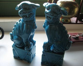 Foo dogs Vintage antique chinese turquoise glaze figure figurine 20th c