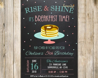 CHALKBOARD Pink Teal RISE and SHINE Invitation, Mint Breakfast Birthday Invite, Girl Pancakes & Pajamas Party, Pancake Brunch 5th Birthday
