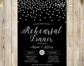 Black Silver Glitters WEDDING REHEARSAL DINNER Invitation, Silver Confetti Rehearsal Dinner Invite, Practice Makes Perfect, The Last Night