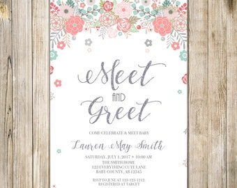FLORAL MEET and GREET Invitation, Teal Pink Silver Glitters Meet the Baby Invite, Floral Sip and See, Baby Open House, Printable Baby Shower