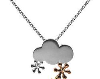 Sterling Silver Gold Vermeil Snowflakes Cloud Necklace