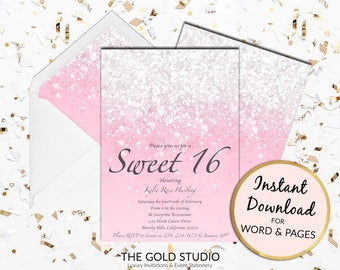 Sweet 16 invitation | Blush Pink Sweet sixteen | 16th Birthday Glitter invite | Instant Download Editable Template | 16 Birthday Printable