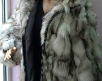 Fox!New,Natural, Real Fluffy Hooded Blue Fox Fur Coat!